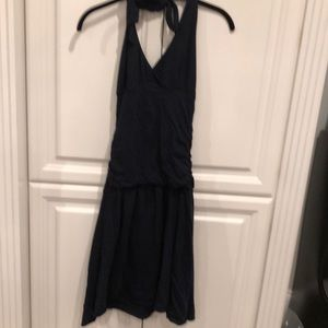VELVET navy halter t shirt material dress